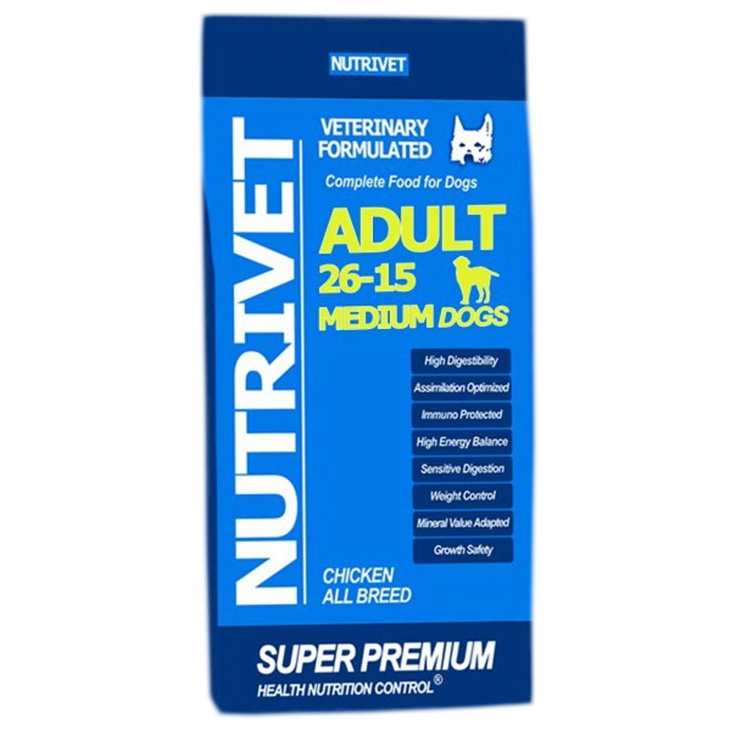 NUTRIVET SUPER PREMIUM ADULT MEDIUM 26-15