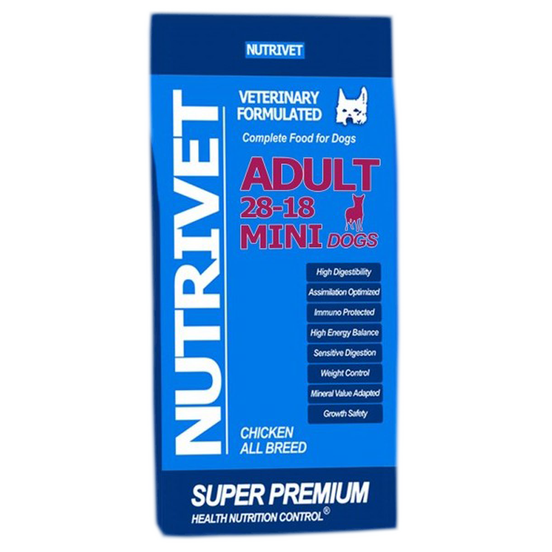 NUTRIVET SUPER PREMIUM ADULT MINI 28-18