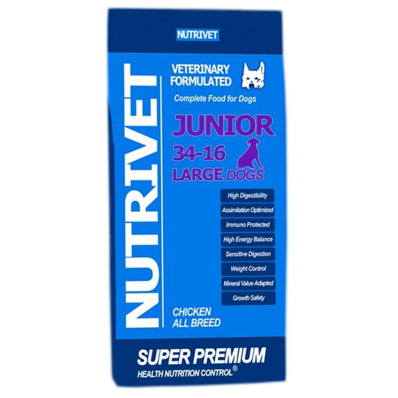 NUTRIVET SUPER PREMIUM JUNIOR LARGE 34-16
