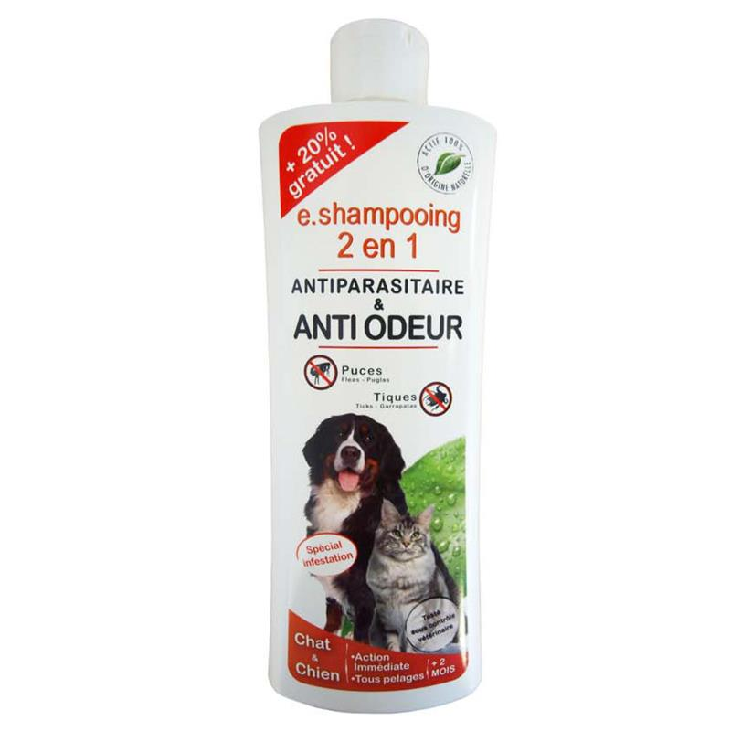 E.SHAMPOING 2 EN 1 ANTIPARASITAIRE ANTI ODEUR CHAT/CHIEN