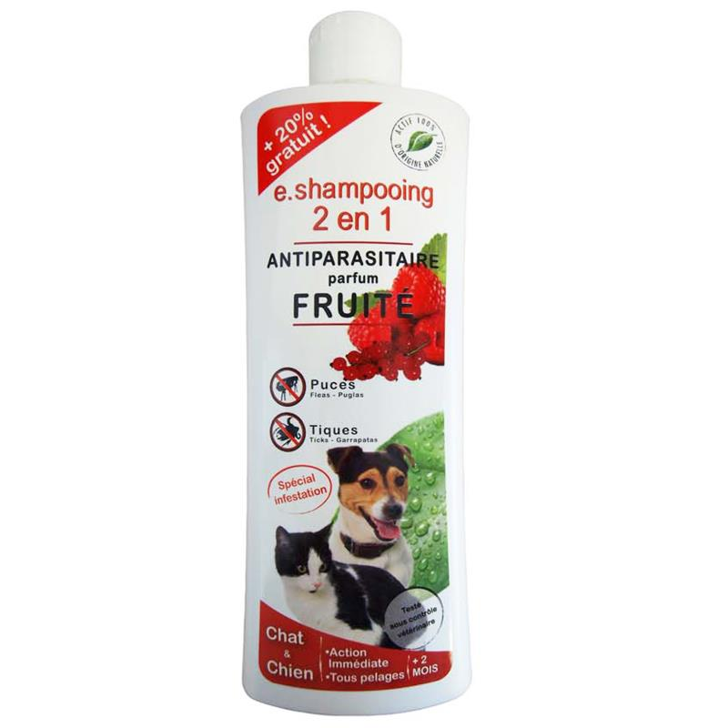 E.SHAMPOING 2 EN 1 ANTIPARASITAIRE CHAT/CHIEN FRUIT