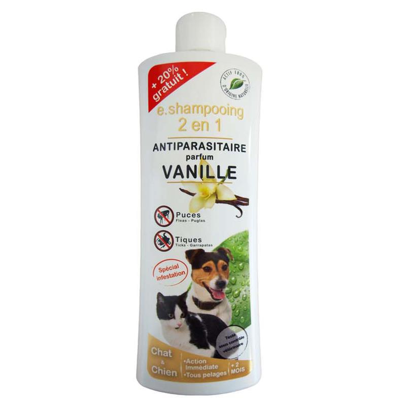 E.SHAMPOING 2 EN 1 ANTIPARASITAIRE CHAT/CHIEN VANILLE