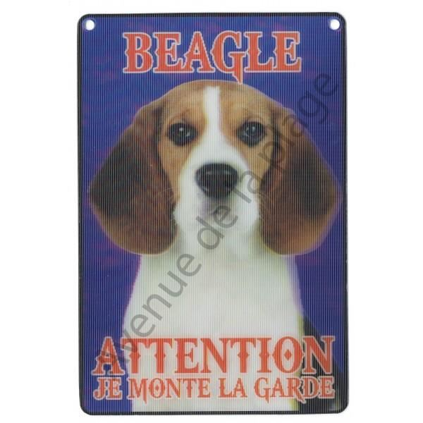 PLAQUE 3D ATTENTION JE MONTE LA GARDE BEAGLE
