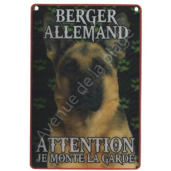 PLAQUE 3D ATTENTION JE MONTE LA GARDE BERGER ALLEMAND