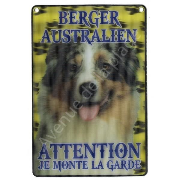 PLAQUE 3D ATTENTION JE MONTE LA GARDE BERGER AUSTRALIEN