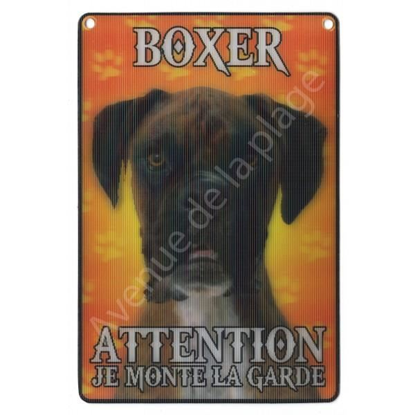 PLAQUE 3D ATTENTION JE MONTE LA GARDE BOXER