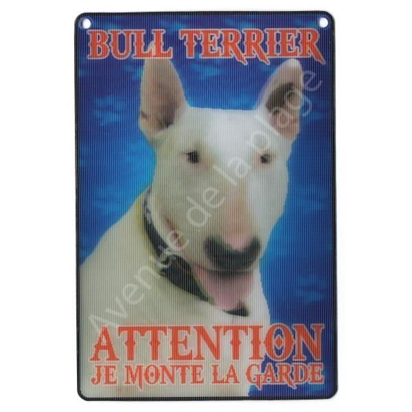 PLAQUE 3D ATTENTION JE MONTE LA GARDE BULL TERRIER