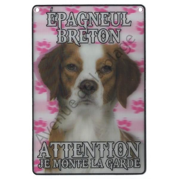 PLAQUE 3D ATTENTION JE MONTE LA EPAGNEUL BRETON