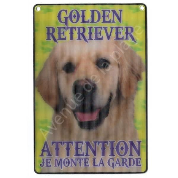 PLAQUE 3D ATTENTION JE MONTE LA GARDE GOLDEN RETRIEVER