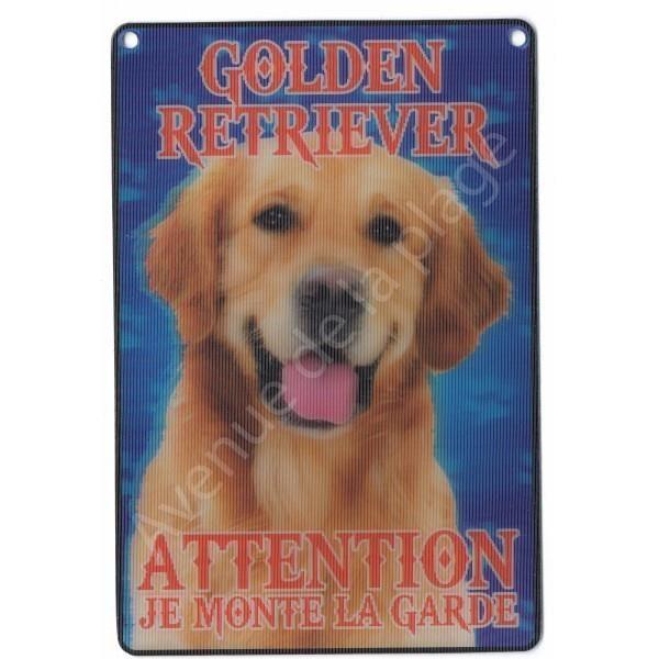 PLAQUE 3D ATTENTION JE MONTE LA GARDE GOLDEN RETRIEVER