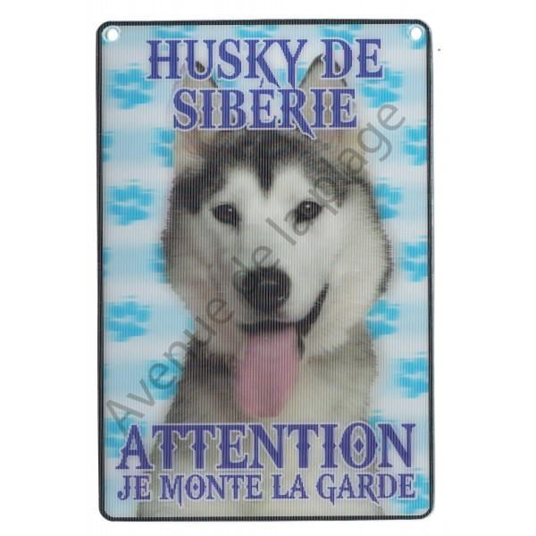 PLAQUE 3D ATTENTION JE MONTE LA GARDE HUSKY